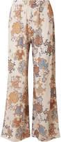 See by Chloe Printed Crinkled-chiffon Wide-leg Pants - Cream