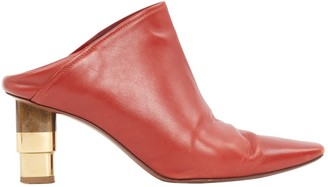 Celine Red Leather Mules & Clogs