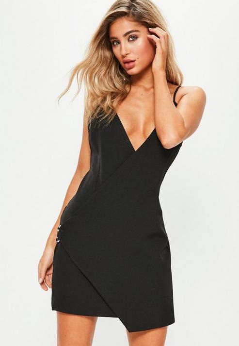 Missguided Black Strappy Wrap Detail Shift Dress, Black