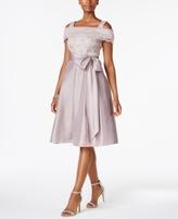 R & M Richards Petite Cold-Shoulder Fit & Flare Dress