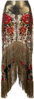 Anna Sui fringed high low skirt