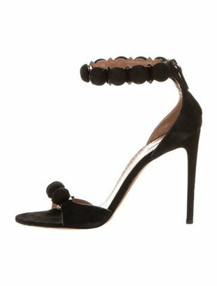 Alaia Calf Leather Studded Accents Sandals Black