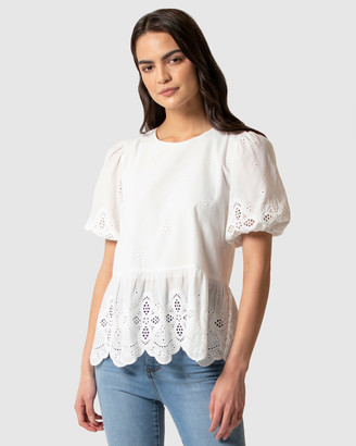 Forever New Libby Embroidered Smock Blouse