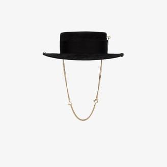 Ruslan Baginskiy Black chain strap boater hat