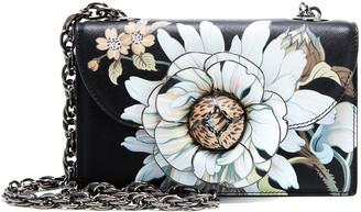 Oscar de la Renta Tro Floral-Appliqued Leather Shoulder Bag