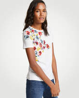 Ann Taylor Winter Floral Pima Cotton Crew Neck Tee