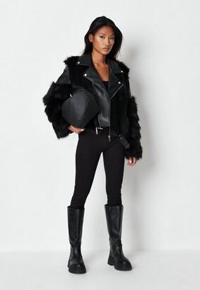 Missguided Black Faux Fur Mix Biker Jacket