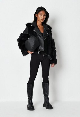 Missguided Faux Fur Mix Biker Jacket