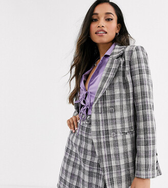 Fashion Union Petite tailored blazer coord in check-Grey