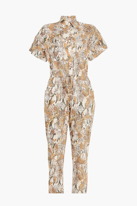 Enza Costa Cropped Snake-print Cotton Jumpsuit