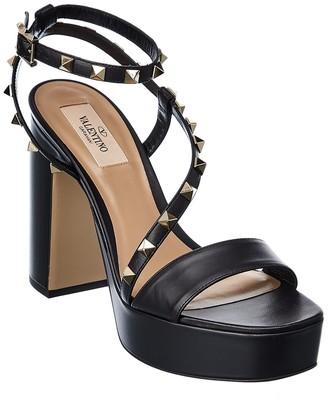 Valentino Rockstud Platform Leather Sandal