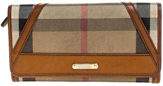 Burberry Brown/Beige House Check Fabric and Leather Leighton Continental Wallet