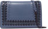 Bottega Veneta Snake-trimmed Intrecciato Leather Shoulder Bag - Light blue