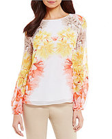 Calvin Klein Floral Printed Chiffon Peasant Sleeve Blouse