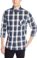 Sovereign Code Men's Josiah - Textured Dobby Plaid Long Sleeve Button Up