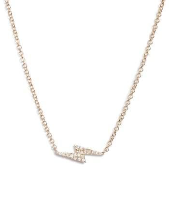 Ef Collection Diamond Lightning Bolt Pendant Necklace