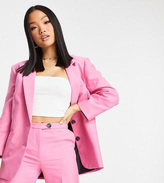 ASOS DESIGN Petite single breasted slim dad suit blazer in perfect pink
