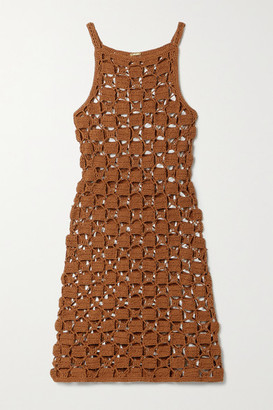 Cult Gaia Yara Crocheted Cotton-blend Mini Dress - Light brown