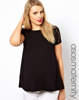 Asos Exclusive T-Shirt With Lace Shoulder and Back