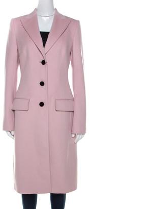 Dolce & Gabbana Pink Wool Contrast Button Detail Long Coat M