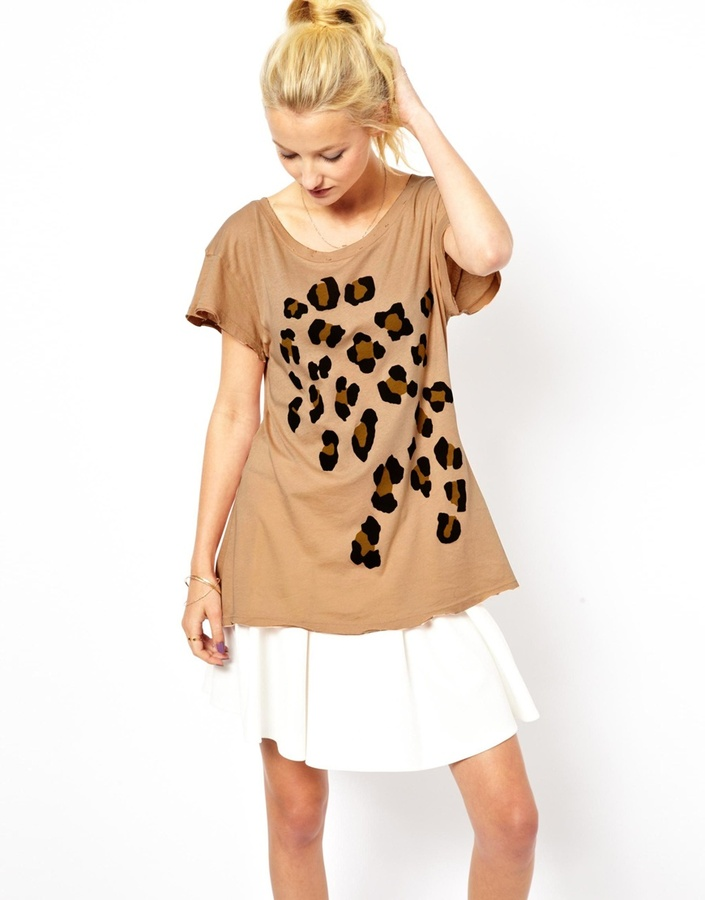 Wildfox Couture Baggy T-Shirt in Leopard Print