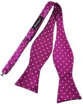 Pense'e PenSee Mens Self Bow Tie Pink Red & White Polda Dot Jacquard Woven Silk Bow Ties