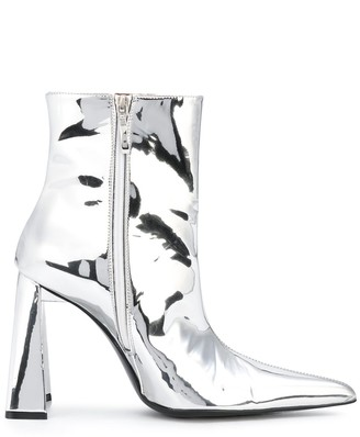 Area metallic pointed ankle boots