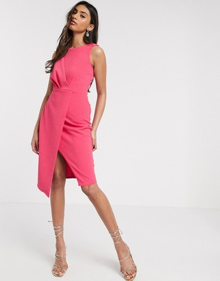 Closet London pleated front pencil dress in fuchsia