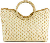 Magid Women's Handbags Natural - Ivory & Tan Woven Straw Satchel