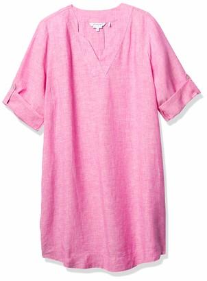 Foxcroft Women's Notched V Neck 3/4 SLV Non-Iron Chambray Linen Dress