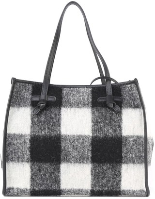 Gianni Chiarini Marcella Medium Tote Bag In Check Print Boiled Wool