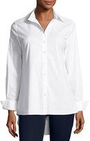 Neiman Marcus Button-Down Blouse with Pleated Back, White