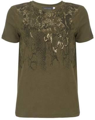Mint Velvet Khaki Snake Foil Print T-Shirt