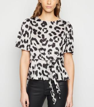 New Look Satin Leopard Print Tie Side Blouse