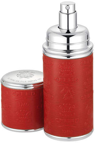Creed Logo Etched Leather Atomizer, Silver/Red, 1.7 oz./ 50 mL
