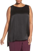 Eileen Fisher Plus Size Women's Hammered Silk Satin High/low Shell
