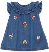 Mayoral Floral Embroidered Denim Dress, Size 6-36 Months