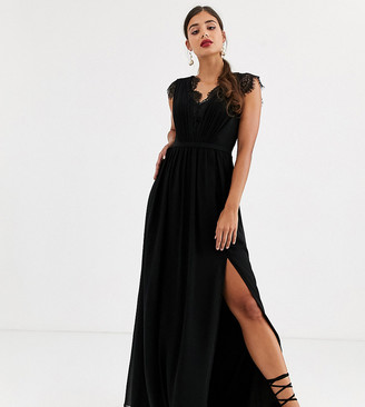 Little Mistress Tall lace detail maxi dress-Black