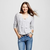 Mossimo Women's Lace Up Pullover Gray