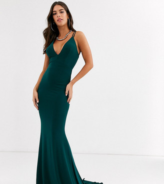 Club L London Tall plunge front strappy back maxi dress in green