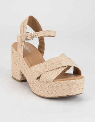 Soda Sunglasses Raffia Crisscross Womens Platform Sandals