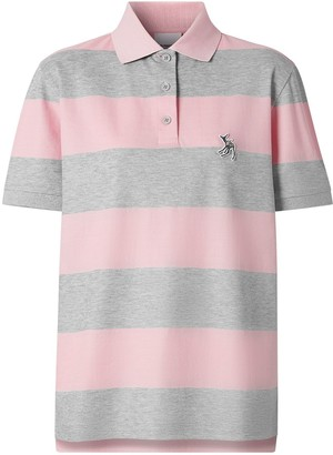 Burberry Deer motif striped polo shirt