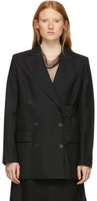 Ann Demeulemeester Black Side-Belt Blazer