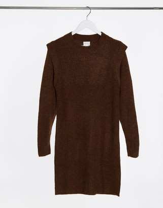 Vila knitted sweater dress with shoulder detail in brown