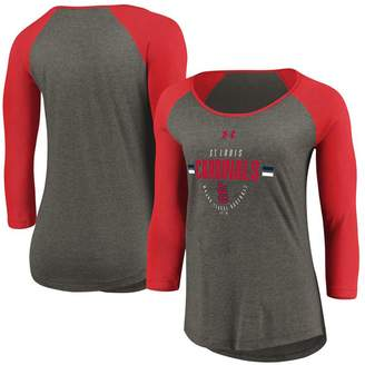 Under Armour Women's Gray/Red St. Louis Cardinals Performance Tri-Blend Raglan 3/4-Sleeve T-Shirt