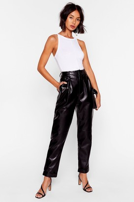 Nasty Gal Womens Can You Feel the Pleat Faux Leather Tapered Trousers - Black - 12