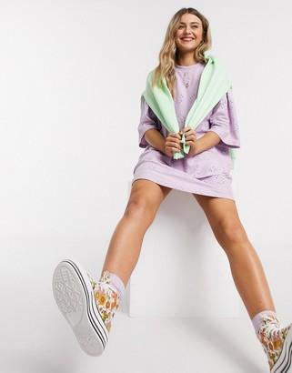 ASOS DESIGN broderie super oversized t-shirt dress in lilac