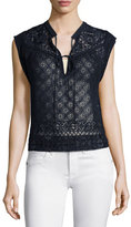 Rebecca Taylor Sleeveless Embroidered Silk Top, Navy