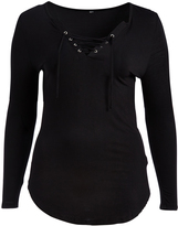 Paparazzi Black Long-Sleeve V-Neck Top - Plus