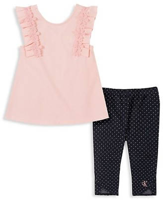 Calvin Klein Little Girl's Floral Top & Leggings Set
